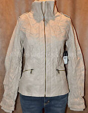 Authentic GUESS Berlin Bomber Quilt Stitch Jacket Faux Leather Coat Milk Tan