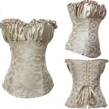 Ladies Sexy Beige Victorian Ruffled Ribbon Lace Up Gothic Corset Bustier