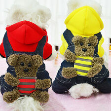 Pet Dog Winter Warm Clothes Puppy Cute Bear Hoodie Coat Overall Jumpsuit Costume