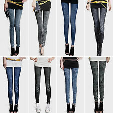 New Womens Leggings Jeans Denim Look Jeggings Slim Stretch Pants Tight Trousers