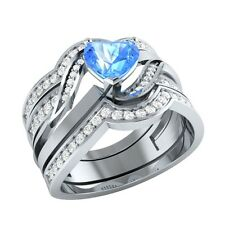 1.16 ct Heart & Round Cut Blue Topaz & Sapphire Solid Gold Wedding Bridal Set