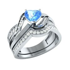 1.03 ct Heart & Round Cut Blue Topaz & Sapphire Solid Gold Wedding Bridal Set