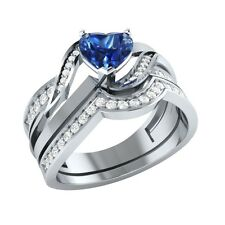 1.03 ct Blue Sapphire & White Sapphire Solid Gold Wedding Bridal Ring Set
