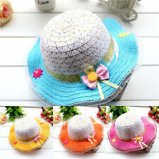 New Cute Baby Kids Hat Bowknot Summer Sun Straw Hats Large Brimmed Beach Caps oz