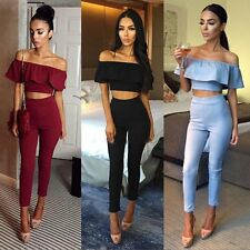 Sexy Women Crop Tops Long Pants Outfits Set Clubwear Cocktail Bodycon Jumpsuit