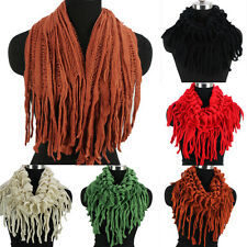 Women Solid Wool Fishnet Stripes Hollow Out Long/Infinity Scarf With Tassel New
