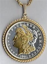 Morgan Silver Dollar (minted 1878 - 1921) Silver & Gold Plated Coin Necklace #3