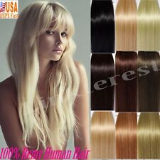 Blonde Brown 100% Human Hair Extensions Clip In Remy Full Head Party Gift Q789