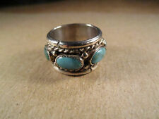 Vintage Sterling Silver & Turquoise Band Ring, Unsigned, Size 5, 7.0g