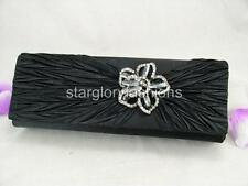 Black Satin Crinkle Wedding Evening Clutch Bag Sparkle Crystal Pin 3 Colors
