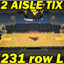 2 AISLE TIX Texas Longhorns @ West Virginia Mountaineers BASKETBALL 2/20 231rowL