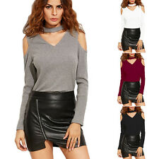 Women's Casual Cold Shoulder Blouse T-Shirt Sexy Ladies Long Sleeve Tops Sweater