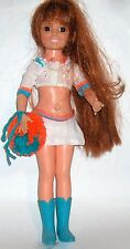 Vintage Ideal Toy Corp Doll  Aqua & Orange Cheerleader outfit  1969 hair grows