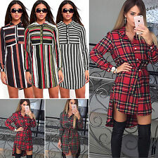 Womens Collared Front Button Party Shirt Dress Long Sleeve Jumper Top Blouse New