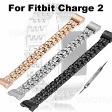Genuine Stainless Steel Bracelet Smart Watch Band Strap For Fitbit Charge 2