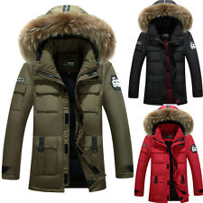 Mens Duck Down Puffer Fur Hooded Parka Outdoor Jacket Winter Thicken Warm Coat