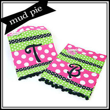 Mud Pie Gifted Initial Monogram Pink & Green Polka Dot Ribbon Trimmed Hand Towel