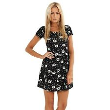Women Short Sleeve Floral Casual Cocktail Evening Party Pleated Mini Dress UTAR