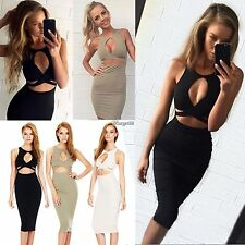 New Women Sexy Sleeveless Cut Out Bandage Bodycon Stretch Club Party Dress UTAR