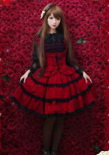 Ladies Red Tiered Layered Sleeveless Lolita Cosplay Gothic Punk Dress Skirt GH