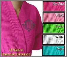 Embroidered Waffle Weave Thigh Length Waffle Weave Kimono Robe,Personalized Robe