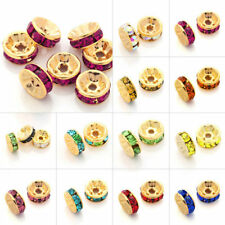 100pcs Crystal Beads Straight Spacer Gold Plated Jewelry DIY 5/6/8/10/12mm