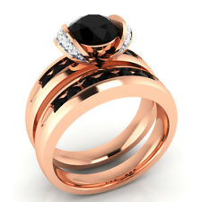 1.30 ct Black Spinel & White Sapphire Solid Gold Wedding Bridal Ring Set