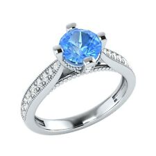 0.85 ct Blue Topaz & White Sapphire Solid Gold Wedding Engagement Ring