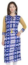 Designer Indian Women Blue Rayon Kurta Pakistani Long Tie & Dye Top Tunic Kameez