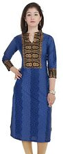 Designer Indian Women Blue Rayon Kurta Pakistani Long Floral Printed Top Kameez