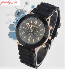 Fashion UNISEX Geneva Silicone Strap Casual Quartz Analog Sports Wristwatches