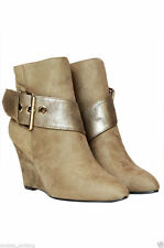 WOMEN'S LADIES CHELSEA ANKLE BOOTS BUCKLE CHUNKY LOW WEDGE HEEL SHOES CASUAL SIZ