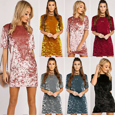 Womens Crushed Velvet Dress Tops T Shirt Loose Long Top Ladies Party Blouse