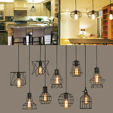 Retro Industry Style Metal Pendant Lamp Holder Vintage Iron Hanging Light Shade