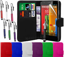 Leather Wallet Flip Case Cover, Stylus Pen with LCD Film For Motorola Moto G