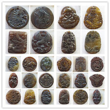 wholesale Mixed Shape Carved Chinese Old Jade Pendant Bead HY-19