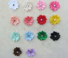 50PCS DIY Appliques Bead NEW Crystal with HOT Ribbon Flower Satin Craft/Trim