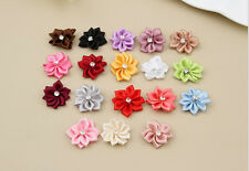 Craft/Trim NEW Ribbon Appliques Crystal Satin with Bead DIY Flower 50PCS HOT
