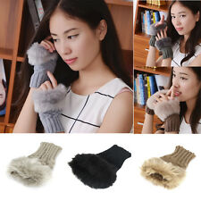Fashion Womens Girl Warm Winter Faux Rabbit Fur Wrist Fingerless Gloves Mittens