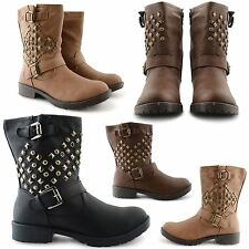 LADIES WOMENS COMBAT ARMY MILITARY WORKER ZIP UP FLAT BIKER ZIP ANKLE BOOTS SIZE