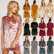 Womens Crushed Velvet Mini Short Dress Casual Tops Loose Tunic Dress Plus Size
