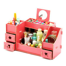 DIY Wood Cosmetic Organizer Makeup Storage Box Case Removable Drawers Jewelry