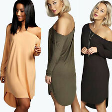 Sexy Womens One Shoulder Loose Casual Blouse Tops Irregular Batwing Party Dress