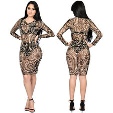 NEW Women Sexy Long Sleeves Print Bodycon Bandage Club Cocktail Party Mini Dress