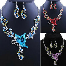 Necklace Earrings Rhinestone Splendid Butterfly Flower Jewelry Set Pendant