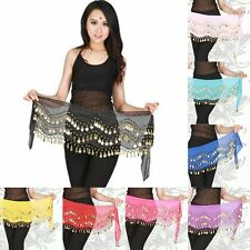New Women Chiffon Belly Dance Hip Scarf Costume Coins Sequin Waistband Belt Wrap