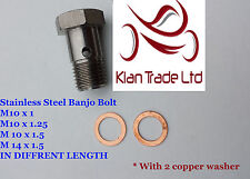 Metric Thread Size STAINLESS STEEL Banjo Bolt M10x1,M10x1.25,M10x1.5,M14x1.5