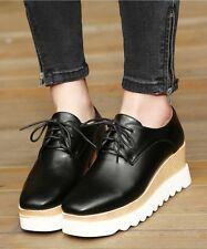 Lace-Up Heels Wedge Platform Black or White Shoes
