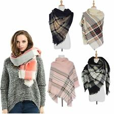 Women Cozy Checked Oversized Tartan Scarf Plaid Blanket Wrap Shawl Pashmina