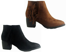 NEW LADIES WOMEN SUEDE FRINGE TASSLE ANKLE BOOT WITH A CHUNKY BLOCK HEEL SIZE3-8